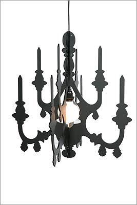 2. Urban Outfitters 3-D Faux Chandelier cutout, $36, black version only at http://www.urbanoutfitters.com (cord kit sold separately); white version, 11 JFK Street, Cambridge, 617-864-0070