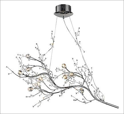 "Chandeliers are getting made over in creative ways. Here are a few shining examples. 1. Elk Lighting ""Viviana"" polished chrome chandelier with halogen bulbs in crystal florets, $699 at Wolfers, 103 North Beacon Street, Allston, 617-254-0700, http://www.wolfers.com"