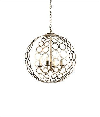 "10. Currey & Company ""Tartufo"" wrought-iron chandelier with antique silver-leaf finish, $792 at A.D. Cola Lighting, 86 Worcester Street, Natick, 508-653-4118, http://www.adcolalighting.com"