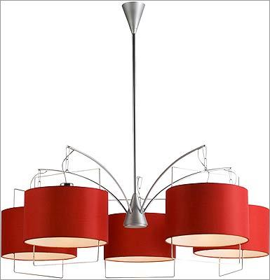 """5. ET2 """"Passion"""" chandelier with red fabric hardback shades, $699 at Lucia Lighting, 311 Western Avenue, Lynn, 888-595-0026, http://www.lucialighting.com"""