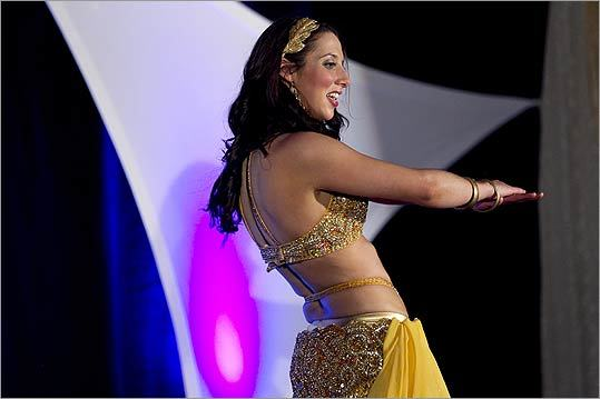 Sara Carlisle of Acton, the eventual winner of the competition, performed an Egyptian belly dance.