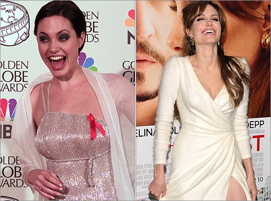 While she's been Hollywood royalty since birth (her father is Jon Voight), Angelina Jolie has learned to dress the part since winning best supporting actress at the 1998 Golden Globes (left). At right, Jolie at the premiere of her latest film 'The Tourist' on Dec. 6, 2010.