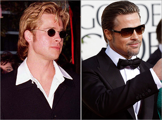 Jolie's husband and fellow Oscar staple Brad Pitt still seems to like shades, as he wore at the Golden Globes on Jan. 16, 2011 (right), though he's updated the style since the 1996 Academy Awards (left).