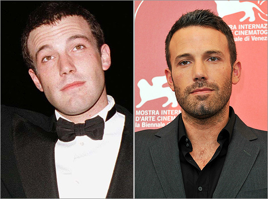 Another local boy done good Ben Affleck , who was overlooked this year for best director for 'The Town,' has grown up a lot since stepping into the Oscar glare in 1998 with 'Good Will Hunting' (left). During the Venice Film Festival in September 2010 (right), he showed off a more relaxed red carpet look.