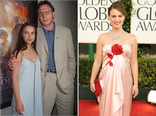 Speaking of growing up, best actress winner Natalie Portman of 'Black Swan' has come a long way from the young girl in 'Star Wars Episode I: The Phantom Menace' (left, with Liam Neeson in 1999) to a mom-to-be at the 68th Annual Golden Globe Awards on Jan. 16, 2011 (right).