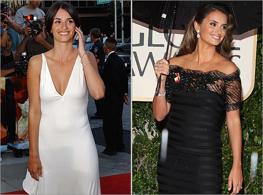 The perfect couple: Bardem's wife and fellow Oscar winner Penelope Cruz also has a knack for being a hit on the red carpet. At left, Cruz at the premiere of 'Captain Corelli's Mandolin' in 2001. She also showed an elegant look at the Golden Globes in January 2010.