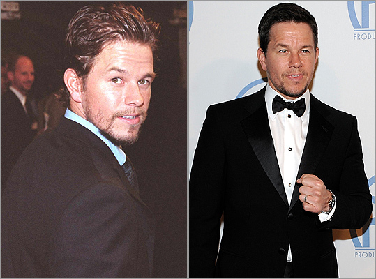 Adams' co-star and Dorchester tough guy Mark Wahlberg , whose Lowell tribute 'The Fighter' was nominated for seven awards including best picture, shed his Marky Mark & The Funky Bunch image in the 1990s with roles in 'The Basketball Diaries' and 'Boogie Nights.' But his hair underwent a transformation of its own between the premiere of his 1999 film 'Three Kings' (left) and his appearance at the 2011 Producers Guild Awards in January (right).