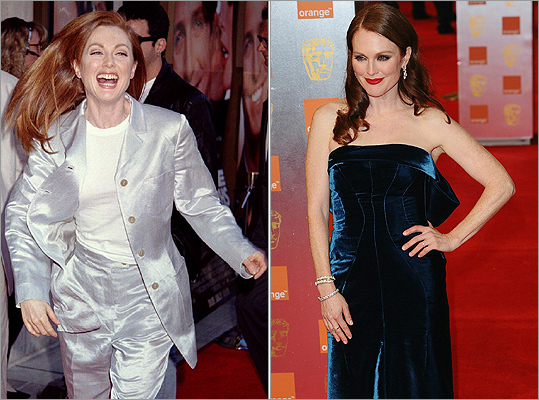 OK, some red carpet looks are better left in the past. Julianne Moore , Bening's co-star in 'The Kids Are All Right,' wore a silver suit at the premiere of her film 'Nine Months' in July 1995 (left), the complete opposite of her more glamorous look at the 2011 Orange British Academy Film Awards on Feb. 13, 2011.