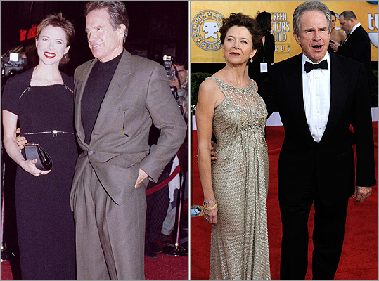 How about a couple's red carpet travels through the years? Annette Bening , nominated for best actress for 'The Kids Are All Right,' and her husband Warren Beatty still shine on the red carpet (like at the Screen Actors Guild Awards on Jan. 30, 2011, right), years after the premiere of the movie 'The American President' (left) in November 1995.