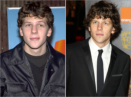 Not only has best actor nominee Jesse Eisenberg of 'The Social Network' grown up since his early red carpet appearances (like 'Standing in the Shadows of Motown' in November 2002, left), his style has grown up too. At right, Eisenberg at the Orange British Academy Film Awards 2011 on February 13.