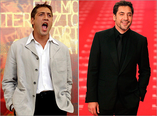 Not much has changed for best actor nominee Javier Bardem . The 'Biutiful' actor can pull off any look, like the laidback style he showed at the Venice Lido in Sept. 2000 (left) or the all-black suit at the Spanish Film Academy's Goya awards on Feb. 13, 2011 (right).