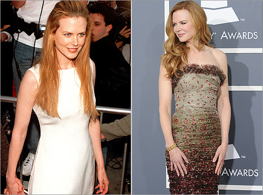 A redhead on the red carpet: Best actress nominee Nicole Kidman of 'Rabbit Hole' has rolled with the times, from the premiere of 'Mission Impossible' in 1996 (left) to the Grammy Awards on Feb. 13, 2011 (right).