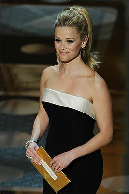 Past Oscar winner Reese Witherspoon dazzled as she presented the award for best supporting actor to Bale.