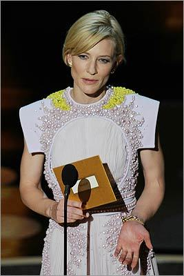 Cate Blanchett drew laughs while presenting the award for best makeup by joking that the clip for 'The Wolfman' was 'gross.' The film went on to win the award.