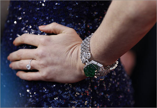 A close-up view of a bracelet worn by Amy Adams.