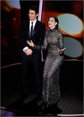 Hosts James Franco and Anne Hathaway excitedly introduced Spielberg.