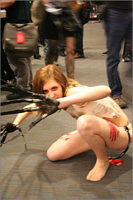 Rachel, 18, dressed up as the witch from the 'Left 4 Dead' video game series made by Valve. She enjoys the 'fear' the character elicits from players and fans. 'People have a tendency to fear her,' she said, as opposed to other typically 'lusty' female video game characters.