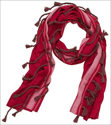 "JUICY COUTURE ""Wrap Tassel"" cotton scarf in lotus rouge, $68 at Juicy Couture, 12 Newbury Street, Boston, 617-236-5514, http://www.juicycouture.com"
