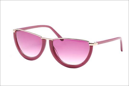 "CYNTHIA ROWLEY ""Half Moon"" sunglasses in pink with metal and plastic frames, $175 at Cynthia Rowley, 164 Newbury Street, Boston, 617-587-5240, http://www.cynthiarowley.com"