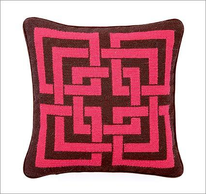 "TRINA TURK ""Shanghai"" needlepoint wool-blend pillow in chocolate and pink, $65 at Acquire, 61 Salem Street, Boston, 857-362-7380, http://www.acquireboutique.com"