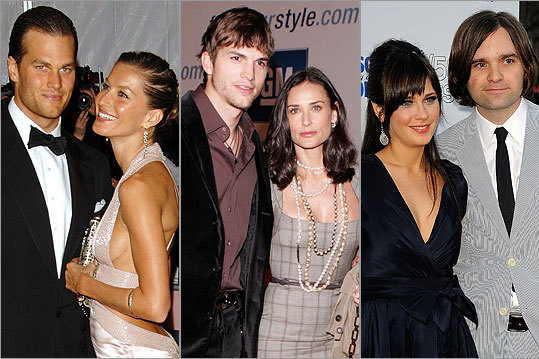 Now that intensive male grooming has gone mainstream, it's hard to find a guy whose wife hasn't tweaked his look — whether he likes it or not. Check out the celebrities and famous faces whose wardrobes, public images, even hair have gotten a boost from their significant other. Pictured from left: Tom Brady with Gisele Bundchen, Ashton Kutcher with Demi Moore, and Zooey Deshanel with Ben Gibbard. STORY: Why are some so interested in making over their spouses?