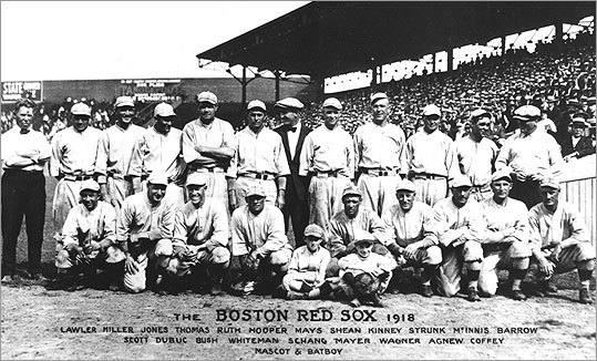 The Red Sox in 1918, in an era when the team colors — despite the club's name — switched from navy to red almost yearly.