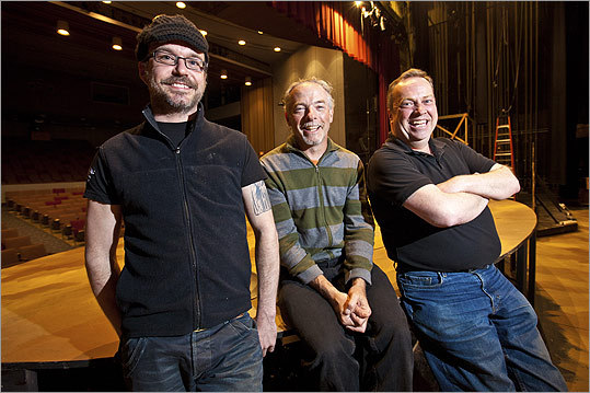 "From left: technical director Matthew Lazure, director James P. Byrne, and actor Larry Coen on the set of ""Aladdin and the Wonderful Lamp'' at the Wheelock Family Theatre. All three are veterans of the Gold Dust Orphans troupe."