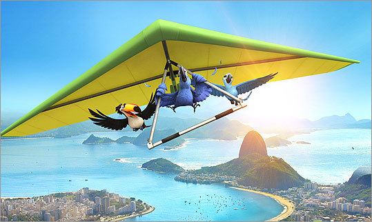 Director Carlos Saldanha, who grew up in Rio de Janeiro, says the idea of Blu hang gliding around the city was one of the first images that came to mind.