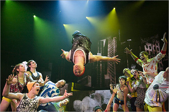 "Cirque Éloize members engage in acrobatics (pictured), Cyr wheeling, inline skating, and more in ""iD.'' ""With this show, I wanted to explore the energy of the young people of today,'' says Jeannot Painchaud, the company's CEO and artistic director."