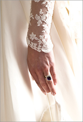 A close-up of the lace and Kate's engagement ring.