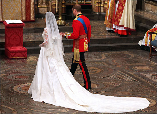 Prince William and Catherine in Westminster Abbey.