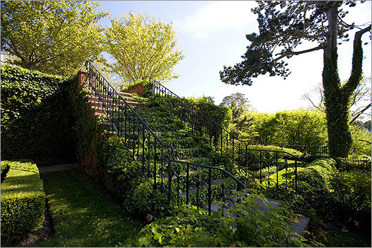 This brick stair, restored and covered in ivy, led from the formal rose garden to the original house, which no longer exists.
