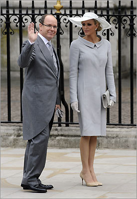 Prince Albert of Monaco arrives with his fiancee, former South African swimmer Charlene Wittstock.