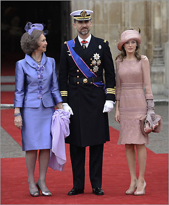 Spain's Prince Felipe is flanked by Princess Letizia and Spain's Queen Sofia.