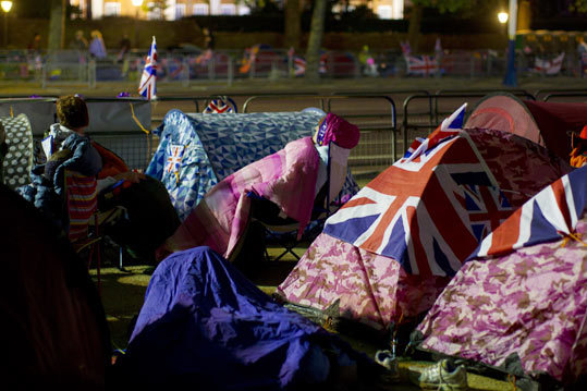 Camping out before the royal wedding.