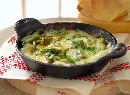 Got chips? Try queso fundido with poblanos and cilantro.