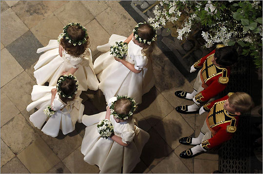 Bridesmaids and page boys waited inside Westminster Abbey.