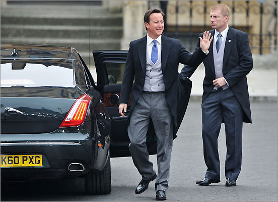Prime Minister David Cameron waved to the crowds.