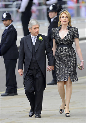 Speaker of the House of Commons, John Bercow, and his wife, Sally, arrived at Westminster Abbey.