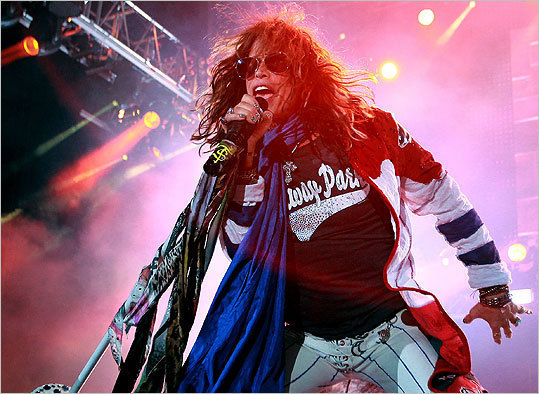 Aerosmith frontman Steven Tyler performing at Fenway Park on August 15, 2010.