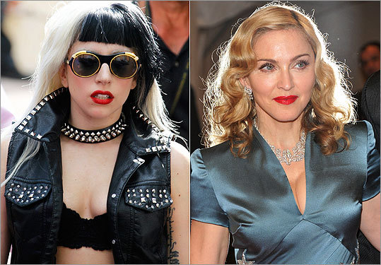 According to Boston celebrity genealogist Chris Child, Lady Gaga (left) and Madonna are related.