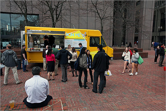 BON ME TRUCK Check for current locations It's no wonder this bright yellow truck, serving sunny, Vietnamese-inspired fare, has quickly become a crowd favorite. And now, a Bon Me restaurant is in the works. The owners have signed the lease for their first brick-and-mortar restaurant in the One Kendall Building, just around the corner from MIT.