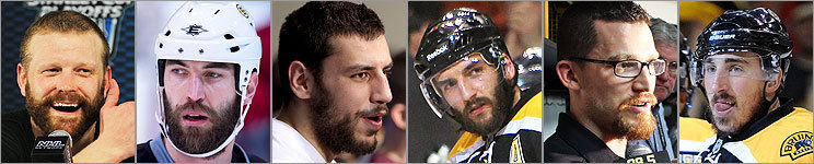 Tim Thomas, Zdeno Chara, Milan Lucic, Patrice Bergeron, Andrew Ference, and Brad Marchand are all sporting playoff beards