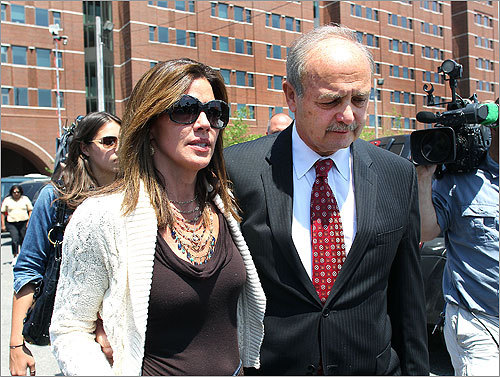 Former House speaker Salvatore F. DiMasi left the federal courthouse in Boston today with his wife, Debbie, after he was convicted of seven of nine counts in a federal corruption case.