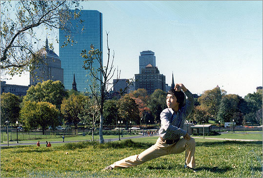 "Mark's son, Donnie Yen, in a pose called ""Taming the Tiger"" on Boston Common."