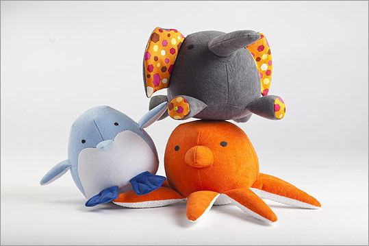 1 ZOOGUU Handmade plush faux-suede elephant, octopus, and penguin, $40 each for the medium size, http://www.zooguu.com