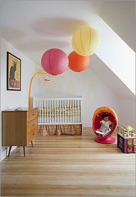 Orange pop: Paper lanterns provide an inexpensive dash of color.