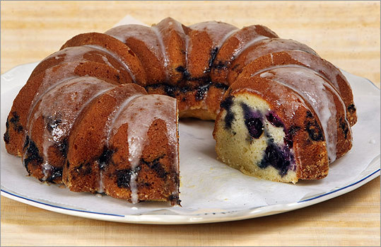 Blueberry Bundt coffee cake with icing Carole Cohen of Stoughton puts her berries in one layer in this Bundt cake, which makes a small round. The top is drizzled with an almond-flavored icing. Recipe