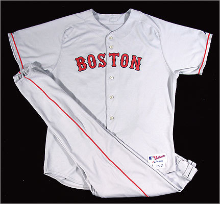 Boston Red Sox professional model road uniform (jersey and pants) from 2005, autographed by Curt Schilling. $2,000 - $3,000