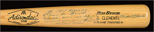 Roberto Clemente professional model baseball bat c.1968-70 autographed to Al Barlick. $15,000 - $20,000